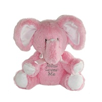 Jesus Loves Me - Musical Elephant Plush - Pink