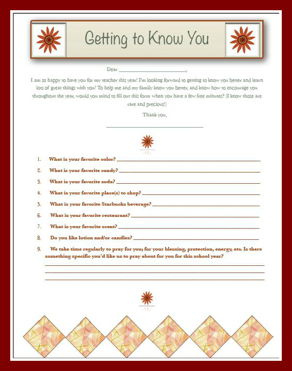Getting to Know You Teacher Survey