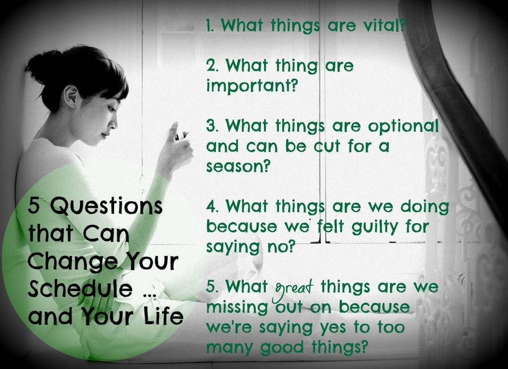 5 Questions That Can Change Your Schedule...and Your Life ~www.thebettermom.com (NOT a bad link)