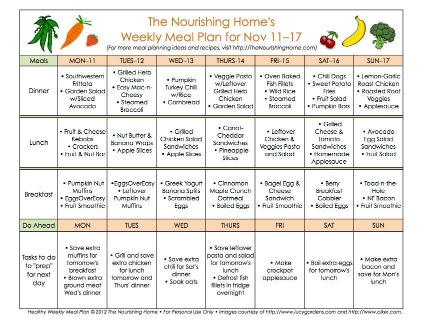 Bi-Weekly Meal Plan for November 11–17