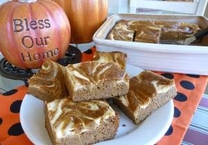 Grain-free pumpkin swirl bars.