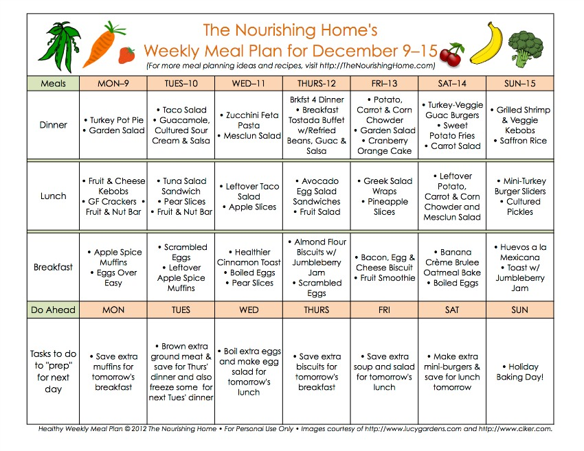 Bi-Weekly Meal Plan for December 9–22