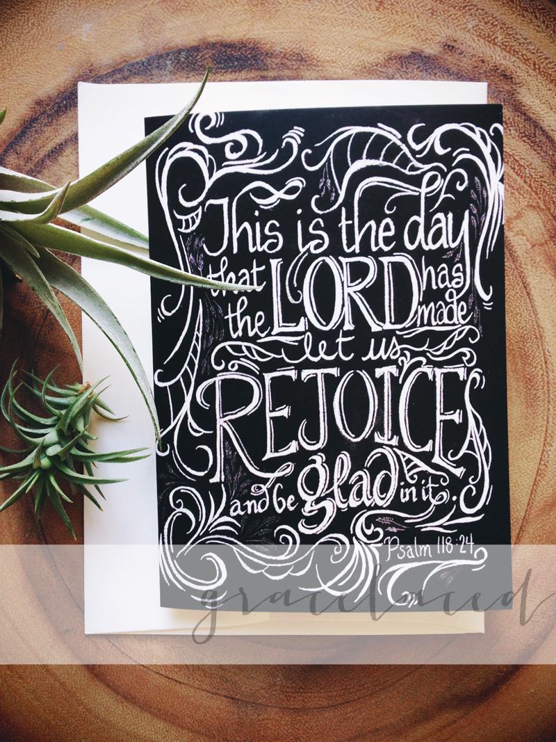 """Rejoice Notecards"": original chalk art by Ruth Chou Simons"
