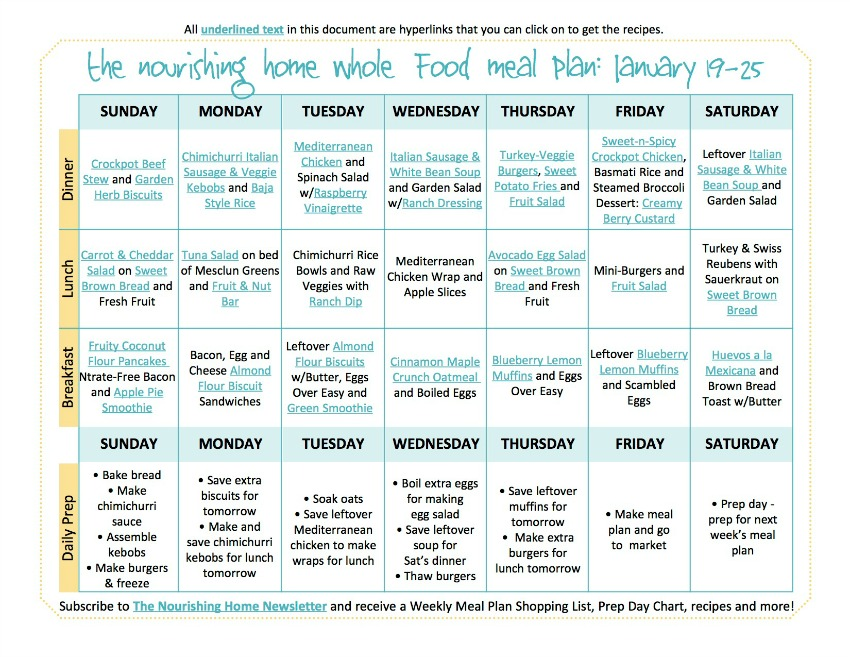 Bi-Weekly Whole Food Meal Plan for January 19–25