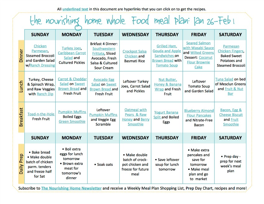 Bi-Weekly Whole Food Meal Plan for January 26 – February 1