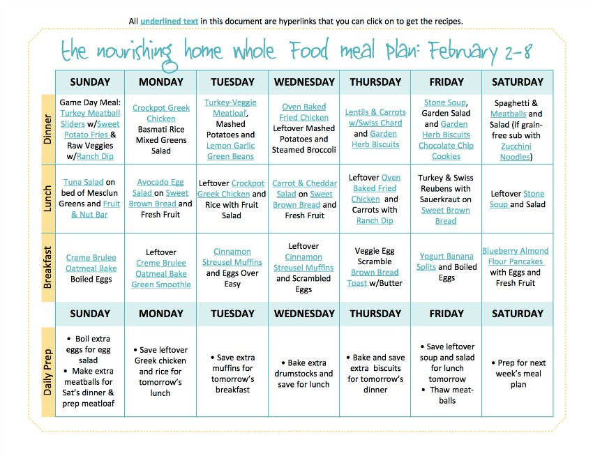 Whole Food Meal Plan for February 2 - 8
