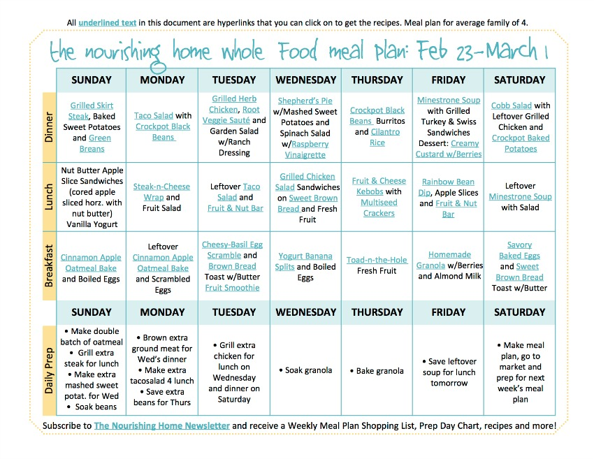 Bi-Weekly Whole Food Meal Plan for February 23 – March 1