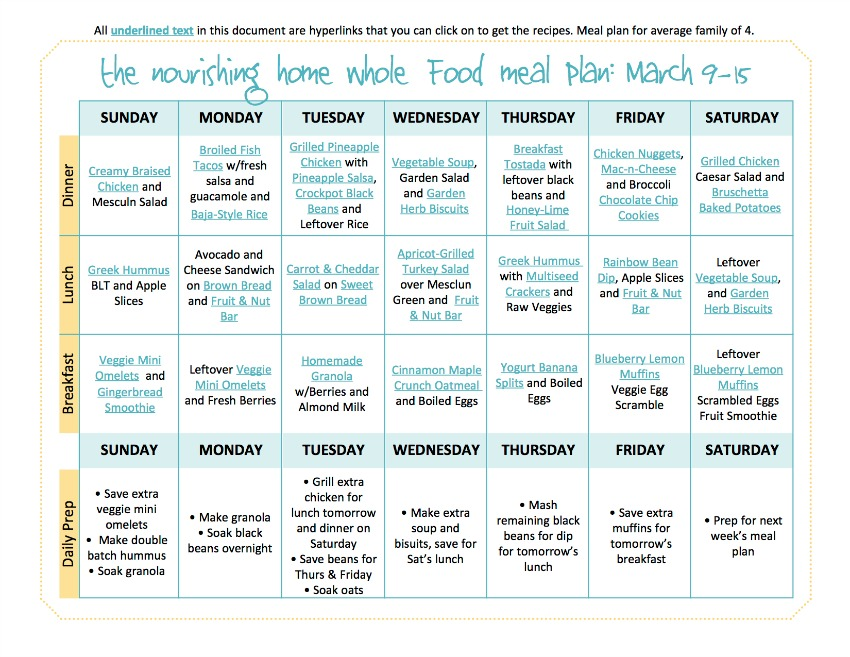 March 9-15 Meal Plan TNH