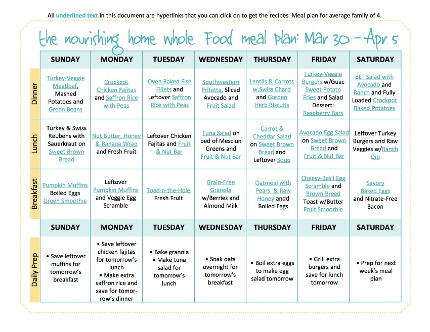 March 30-April5 Meal Plan TNH