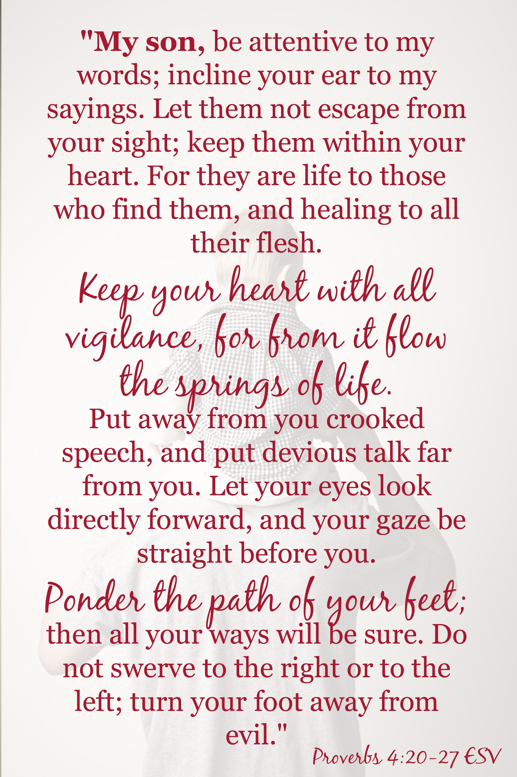 A free download of Proverbs 4:20-27. Perfect for the mom of