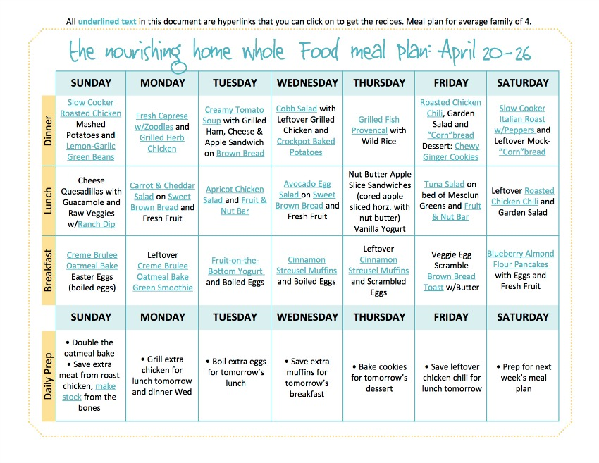 April 20-26 TNH Meal Plan
