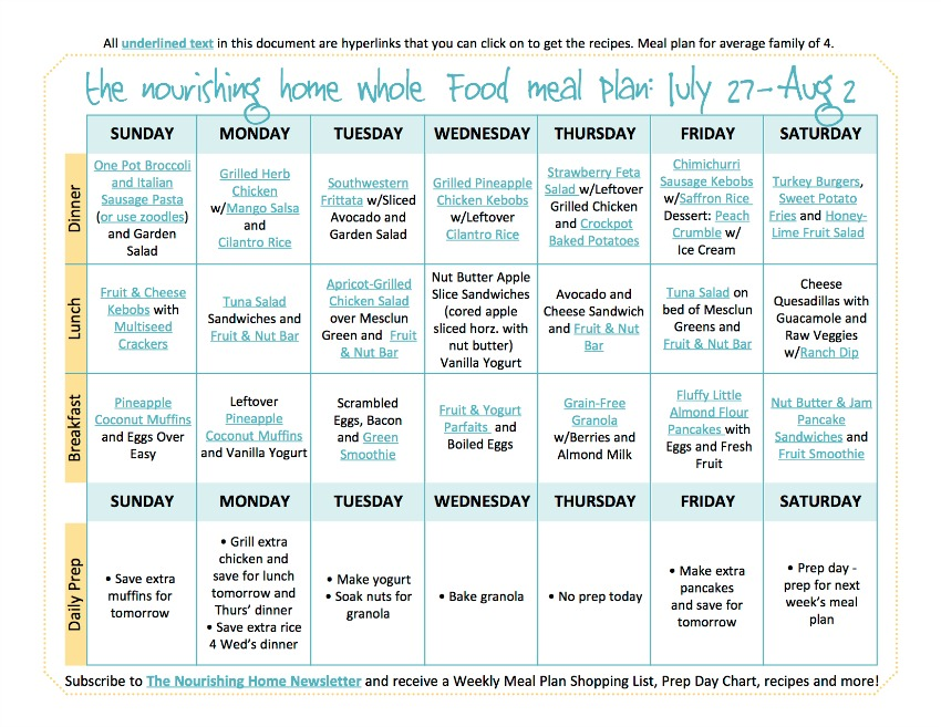 July 27-Aug 2 Meal Plan TNH