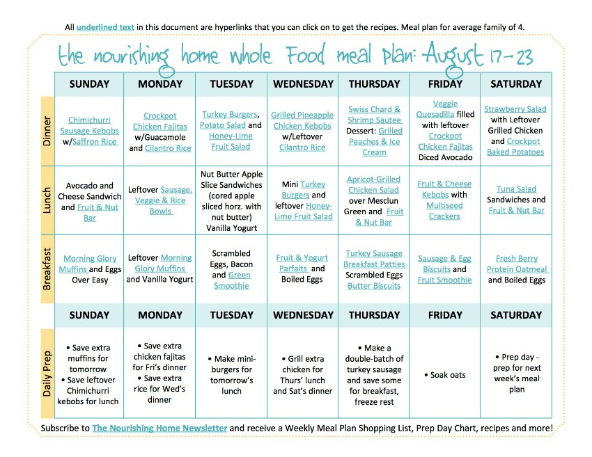 Aug 17-23 Meal Plan