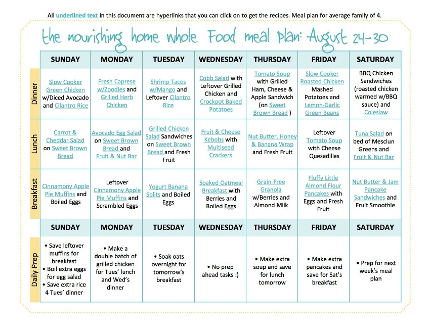 Bi Weekly Whole Food Meal Plan For August 17 30 The Better Mom