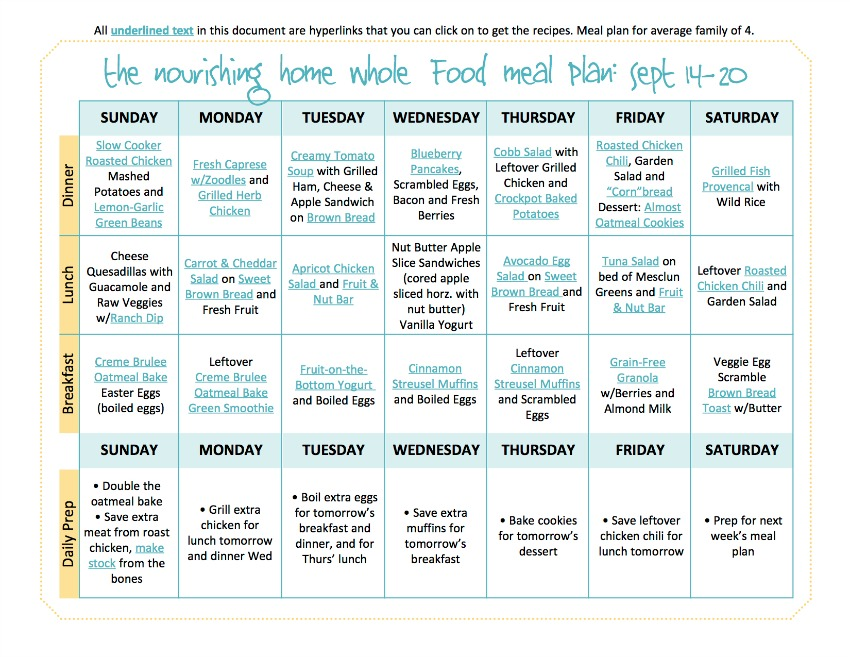 Sept 14-20 Meal Plan TNH