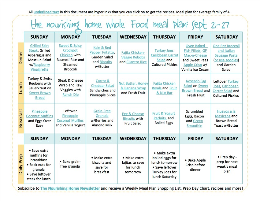 Sept 21-17 Meal Plan TNH