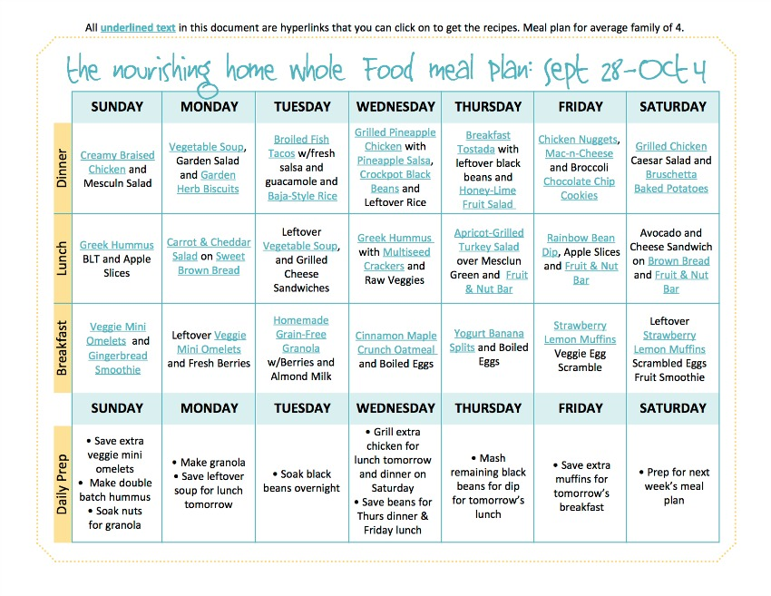 Sept 28-Oct 4 Meal Plan TNH