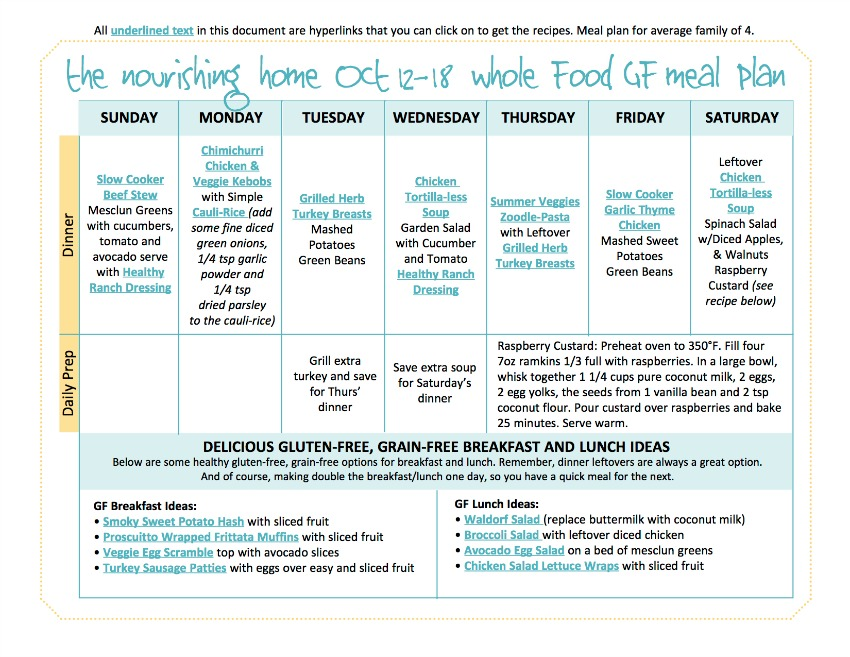 Oct 12-18 Meal Plan TNH