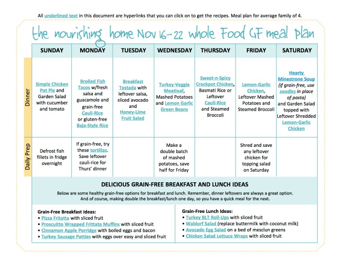Nov 16-22 Meal Plan TNH
