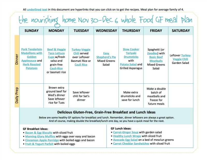 Nov 30-Dec 6 Meal Plan TNH