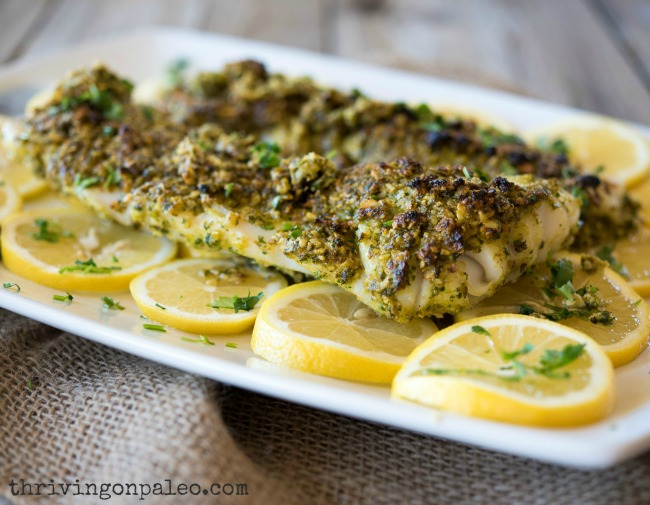 featured recipe: No need to fear fish. This  baked Cod with parsley almond pesto  proves that fish can be absolutely delicious and super simple!