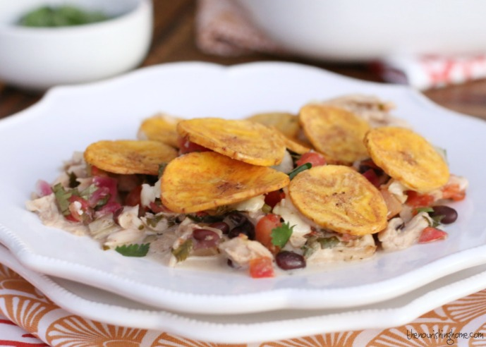 This easy Mexican-Style Casserole is great way to use leftover roast chicken (or turkey). Top it with Crunchy Plantain Chips or Tortilla chips and serve it with Cilantro Rice and a big green salad. For a simple & Delicious weeknight meal the whole family will love!