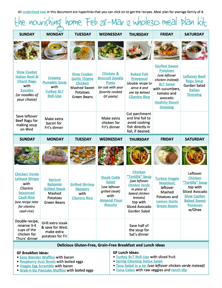 BiWeekly Whole Food Meal Plan For Feb March   The Better Mom
