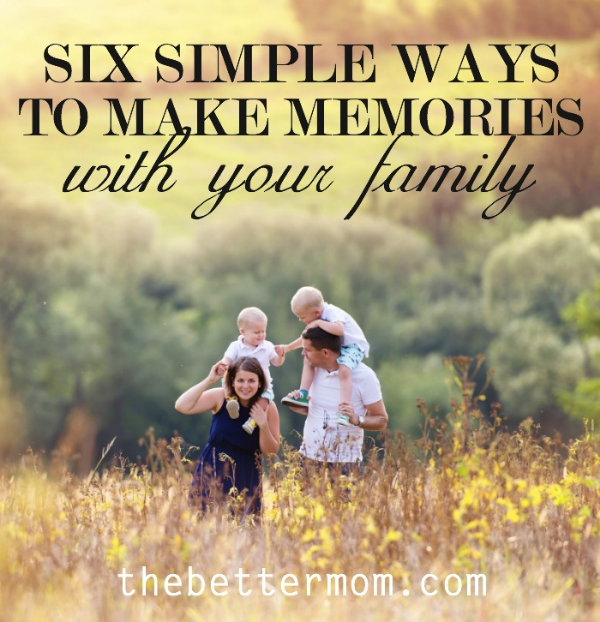 Do you long to make memories with your kids but become discouraged when you fall short of Pinterest perfection and exotic vacations? Us too. These ideas are breathing hope for simple consistent connection that will create a lifetime of memories and strengthen our relationships. Pick one and make a memory today!