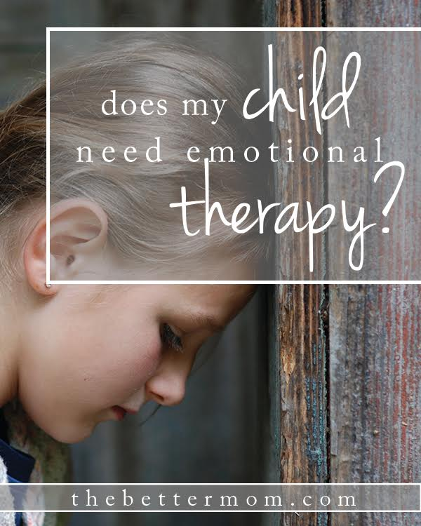 Could your child need therapy?  Every child faces some level of stress or difficulties i his life. Most of these are mild and short lived, but sometimes a child's problems do not resolve in an acceptable time frame. Here's what to look for and how to respond if you think your child might need the help of a professional.
