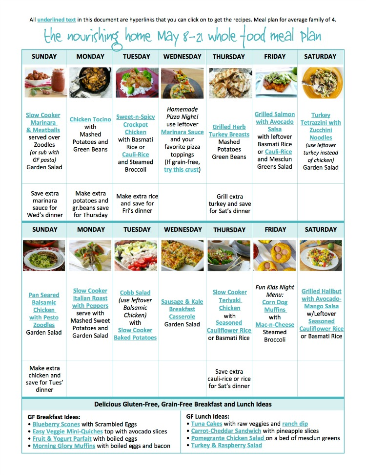 BiWeekly Whole Food Meal Plan For May   The Better Mom