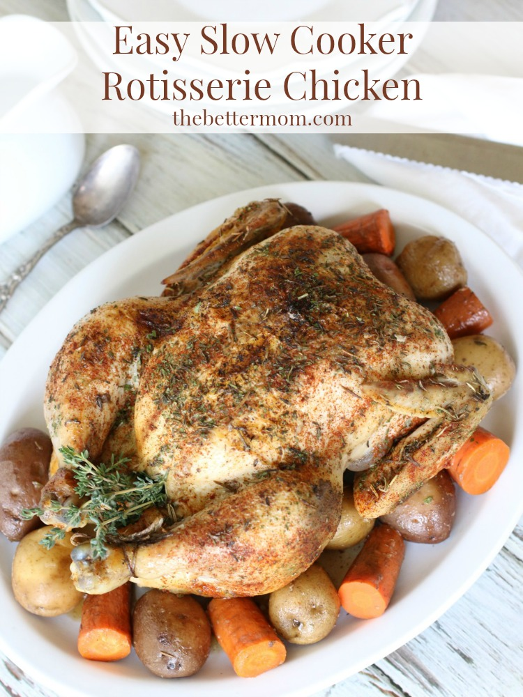 Are you looking for an easy, delicious, and healthy meal for the whole family?? This Easy Slow Cooker Rotisserie Chicken is a no-fuss solution the whole family will love!