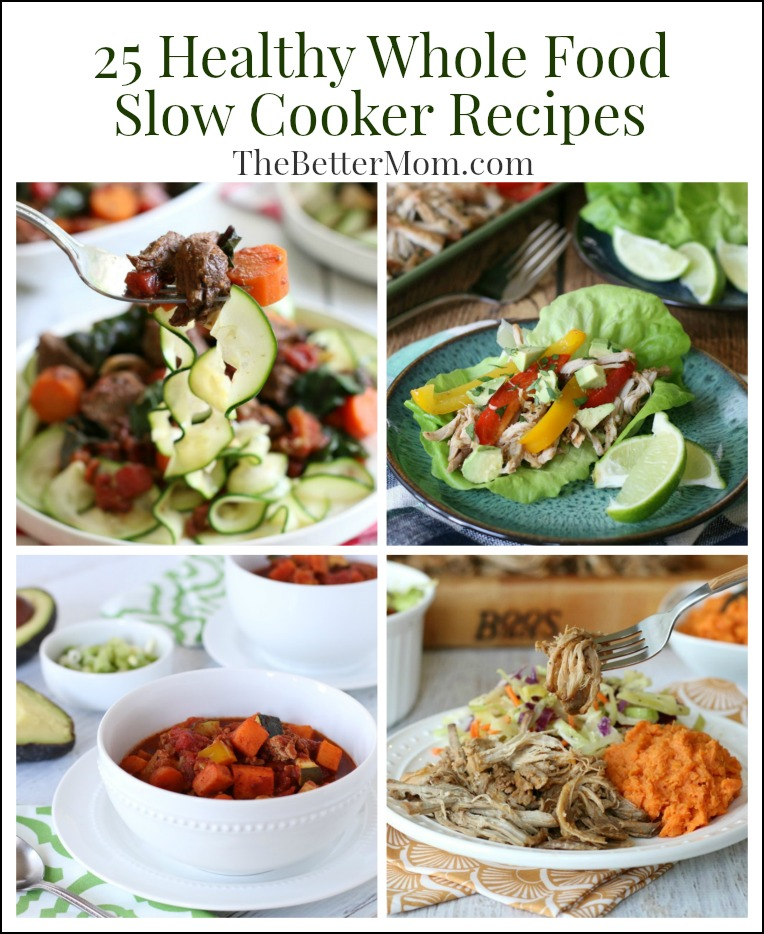 It's a common challenge of busy moms everywhere – how to get a healthy dinner on the table when time is short, and often our patience for cooking is too?  That's why I love the slow cooker! It's a simple way to ensure you get a healthy home-cooked meal on the table, even on the busiest of days.  So grab your slow cooker because we've got 25 delicious whole food recipes to help the whole family get healthy!!