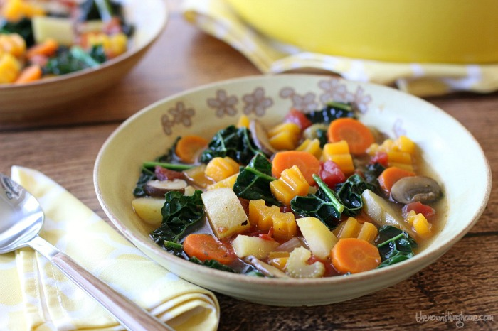 "This easy Rustic Veggie Soup makes the perfect meal on a chilly winter's night. You can find this recipe and even more of our favorites in our special post, "" Warm Up Your Winter with Healthy, Savory Soups ."""