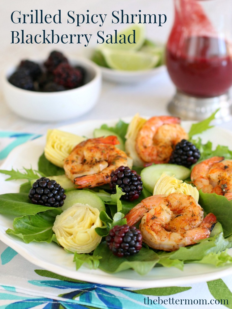 Spring is just around the corner – the perfect time to lighten up our weekly whole food meal plans with simple, yet sensational dinner salads like this delightful Blackberry Spring Greens Salad with Grilled Spicy Shrimp.