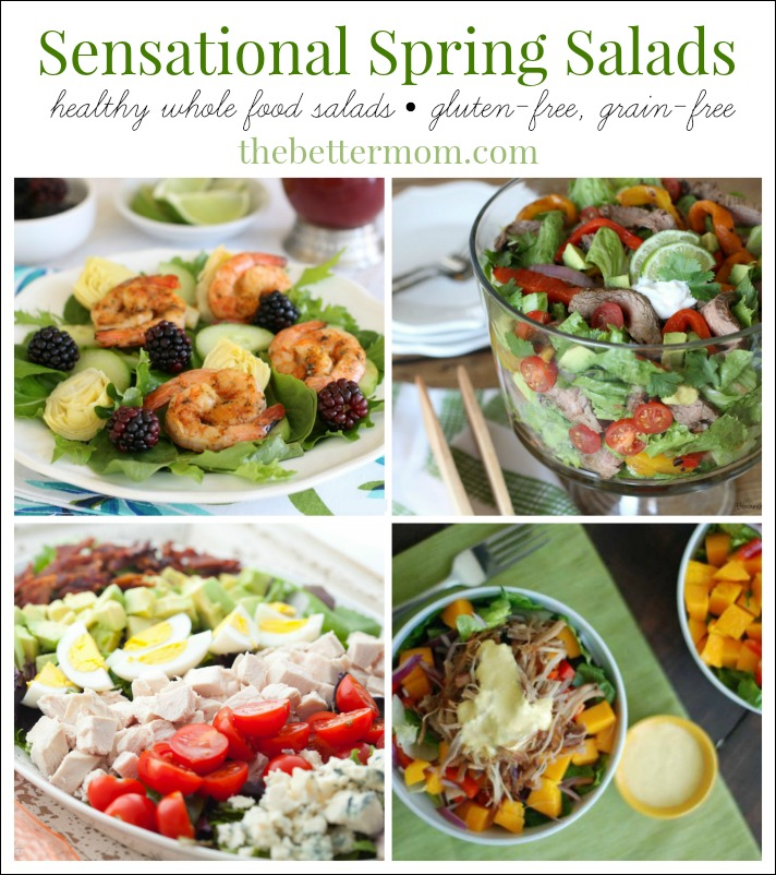 Spring is the perfect time to lighten-up our weekly meal plans with satisfying salads that make a delicious healthy meal all on their own! Here are 7 Sensational Spring Salads Your Family Will Love! {gluten-free, grain-free}
