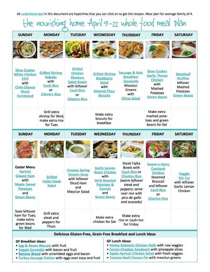 It's so much easier to eat healthier when you take a moment to meal plan. That's why we're here to help! As part of our ministry, we're happy to provide free whole food meal plans with links to each of the delicious recipes featured.