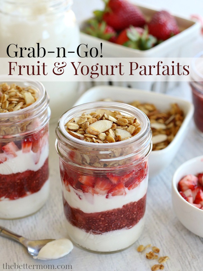 On busy weekday mornings, enjoying a healthy breakfast can be a challenge! That's why these delicious Grab-n-Go Fruit & Yogurt Parfaits are such a blessing. They're so easy to put together and keep well in the fridge for up to a week, making them the ideal breakfast on the run!