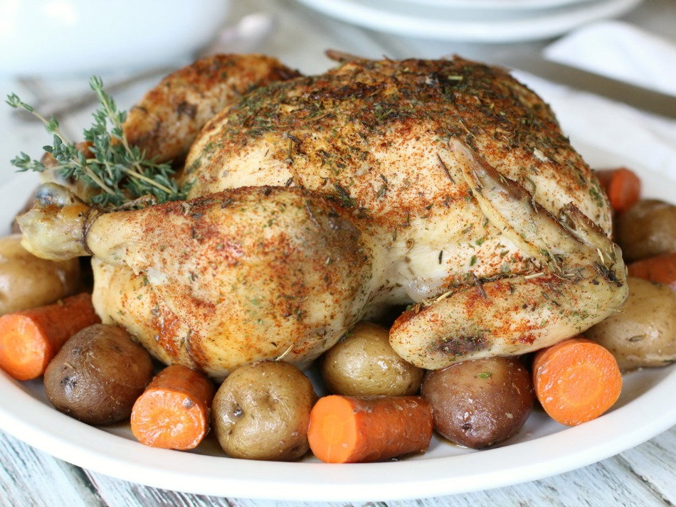 No need to turn on the oven! This easy Slow Cooker Rotisserie Chicken is a real time- and energy-saver! Just toss everything in and let your slow cooker do all the work!