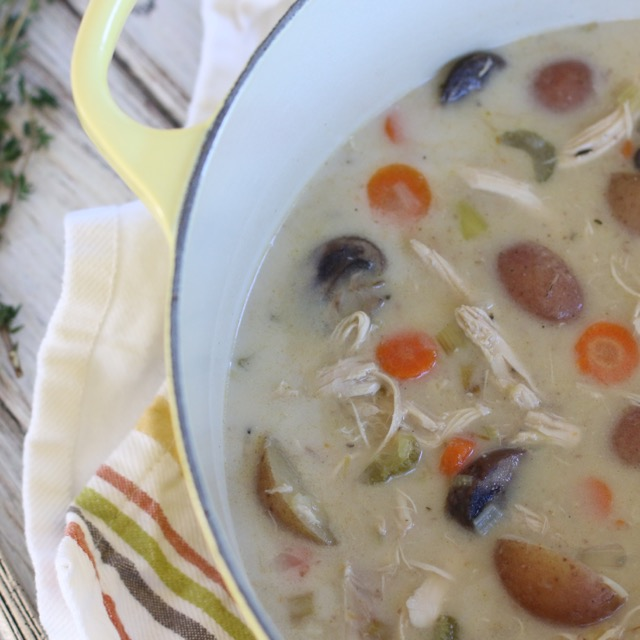 This easy and delicious  Creamy Turkey & Veggies Soup  is the perfect way to use up your leftover turkey from Thanksgiving. Or simply substitute the turkey for roast chicken instead!