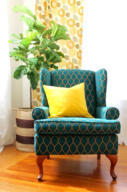 In The Living Room Bump Out Space, A Peacock And Gold Wing Back Chair Makes  A Big Statement Paired With A Fiddle Leaf Fig (the Plant Most Coveted By  Design ...