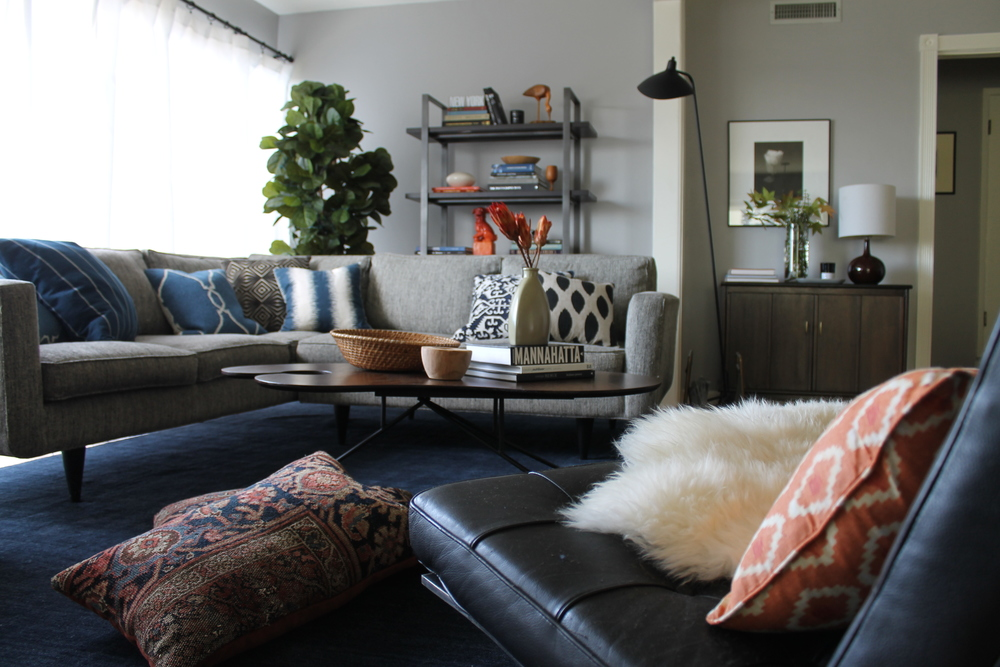 Our First Big Purchase Was The Baxter Rug In Indigo From Crate And Barrel.  We Added A Mid Century Modern Coffee Table Found At Pepeu0027s Furniture In  Echo Park ...