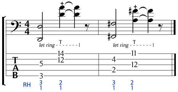 5 string bass octave and taps