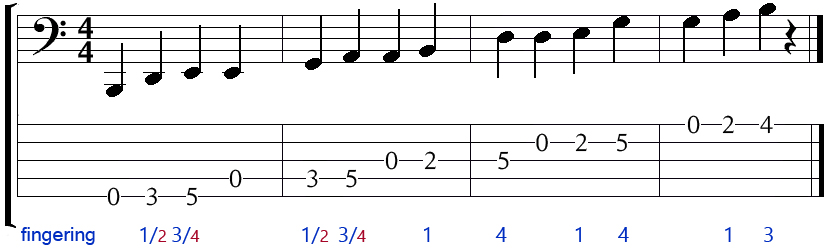 5 string bass open e minor