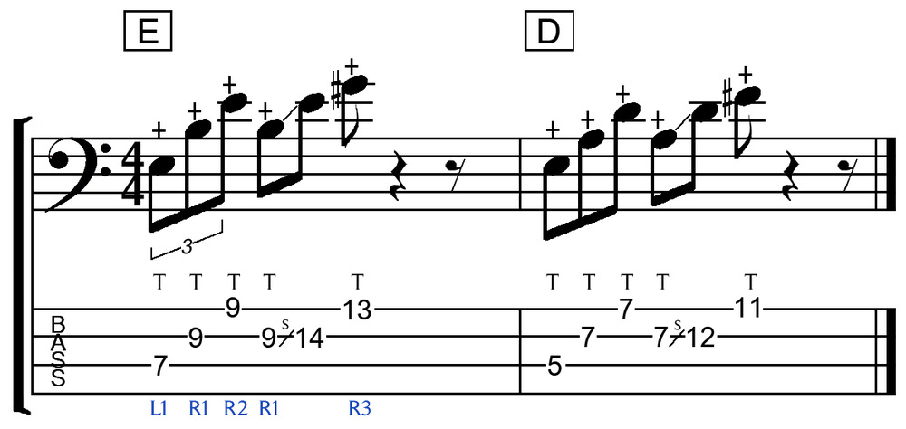 bass chords with tapping and slide