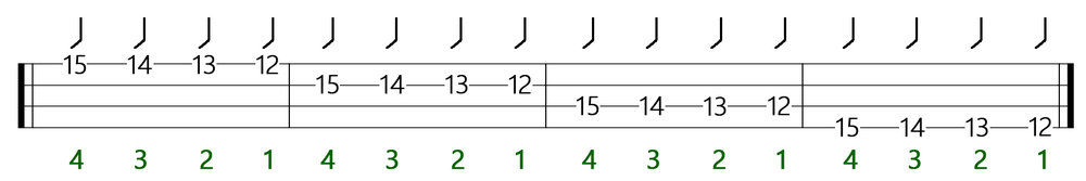 one finger per fret rule on bass example 2