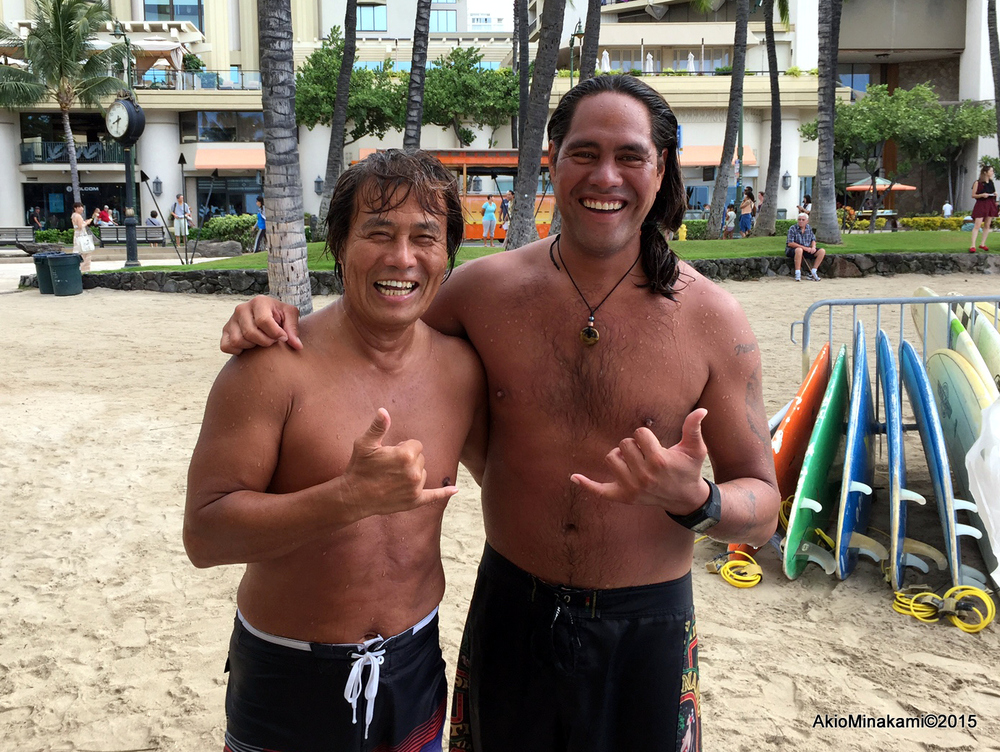 Standing on a surfboard is the same as taking a strong stance in karate -Two surfers in Waikiki