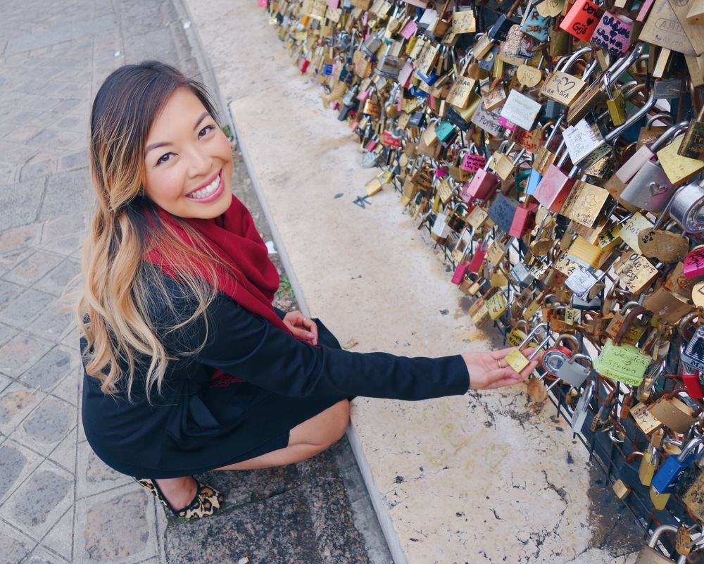 Showing off our love lock...hopefully I can find it again!