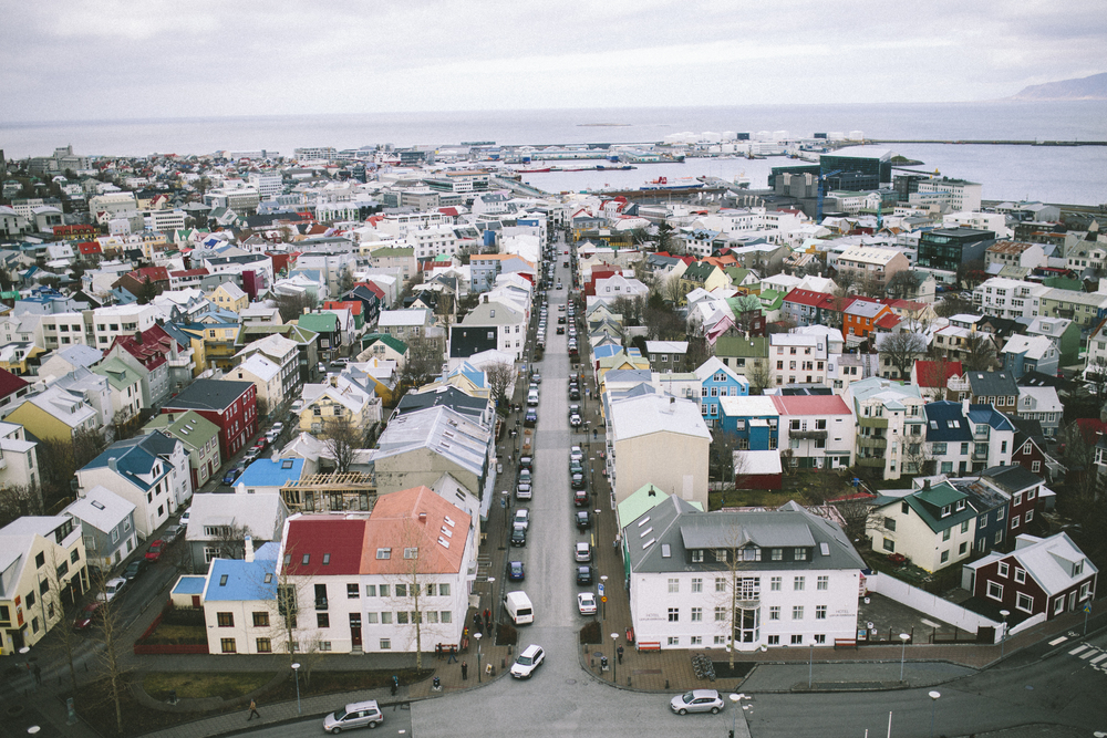 Overlook of Reykjavik in the church - Skolavordustigur street