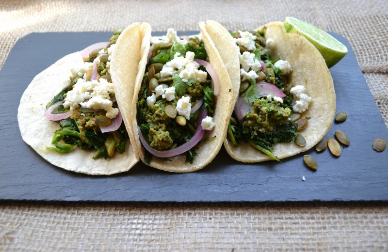 kale and scallion tacos with cilantro pumpkin seed salsa and pickled red onions