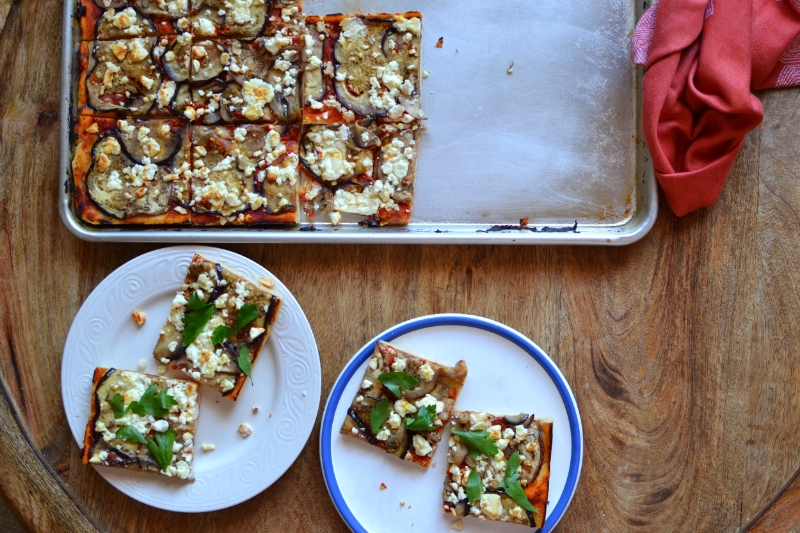 turkish flatbread with eggplant and feta
